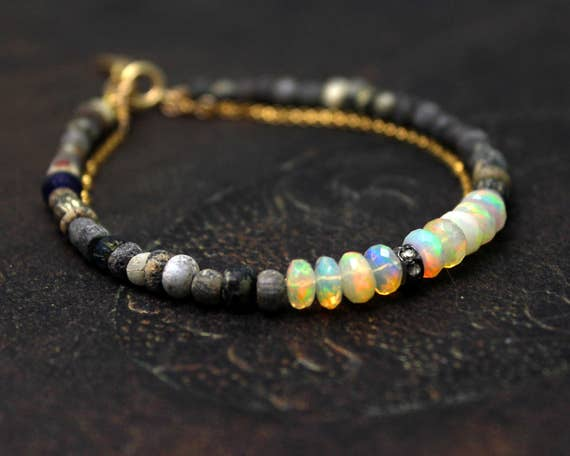 Double Strand Diamond and Opal Bracelet. Rustic Bracelet with Ancient Roman Beads. In Gold or Silver.