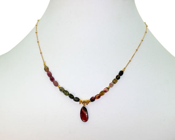 Watermelon Tourmaline Slice Necklace. Adjustable Length. Unique Multi Tourmaline Necklace. Gold Fill Chain and Clasp.