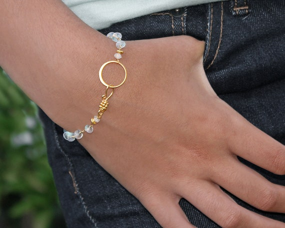 Moonstone Eternity Bracelet. Blue Fire Moonstone Bracelet or Anklet. 22k Vermeil or Sterling Silver.