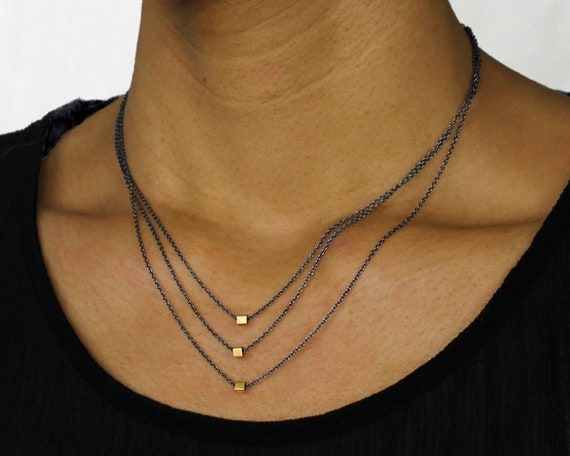 Thirtieth Birthday Necklace. Triple Cube Necklace. Minimal Three Chain Necklace. Gift for Mom. Mixed Metals Available.  N2812
