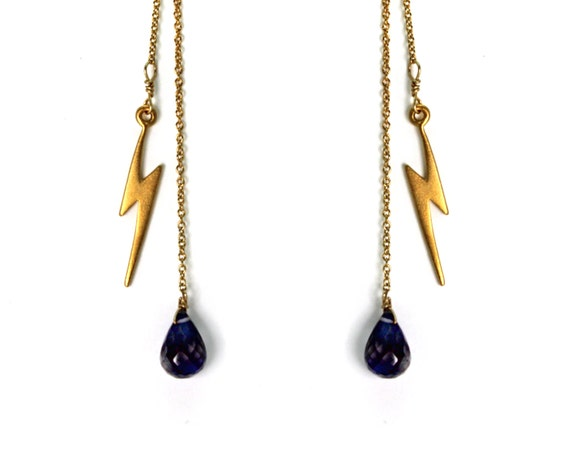 Lightning Bolt Drop Earrings. Post Earrings with Iolite Gemstone Dangles. Gold Filled or Sterling Silver Dangle Earrings E-2014