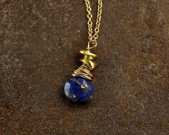Lapis Lazuli Necklace. Birthstone Necklace. September Birthday Necklace. Vermeil, Silver or Black Silver. NM-1959