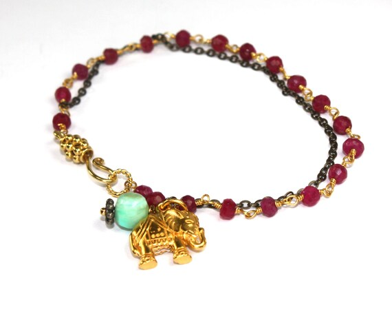 Indian Summer Collection. Elephant Bracelet. Ruby Rosary Layering Bracelet. Elephant and Peruvian Blue Opal Pendant. ex.  Spirit.