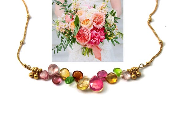 Multi Gemstone Bar Necklace.  Pink Spinel, Citrine, Peridot, & Topaz Briolette  Necklace. Bridesmaid Gift.  N2399.