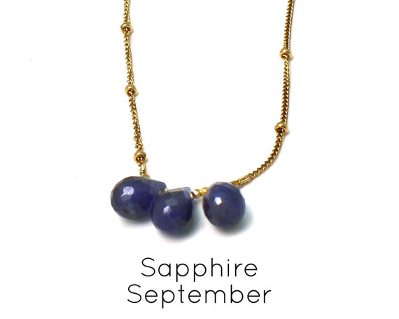 Sapphire Necklace. September Birthstone. Multi Stone Necklace. Gift for Sister. Healing Stones. In Gold Filled, Silver, Rose Gold. N2606