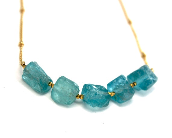 Apatite Necklace, Raw Stone Necklace. Healing Crystals for Cleansing and Quiet Strength. Gold Filled, Silver, Rose Gold. N2620