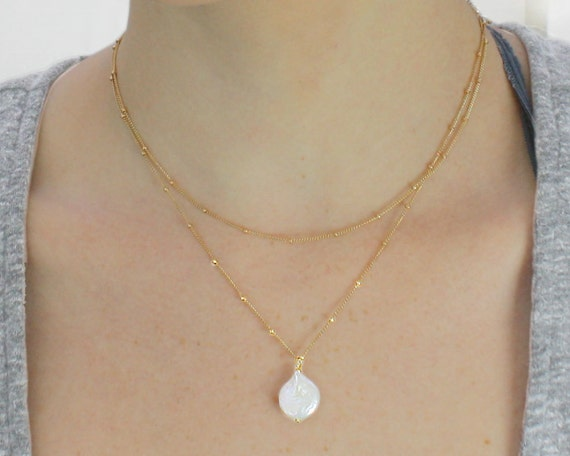 Lunalie: Moon Necklace. Single Pearl and Gold Necklace. Two Gold Filled Satellite Chains. Full Moon Coin Pearl.