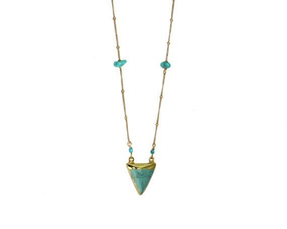 Turquoise Triangle Pendant. Tribal 24k Gold Dipped charm. Boho Chic Turquoise Necklace. Gold Filled or Sterling Silver.