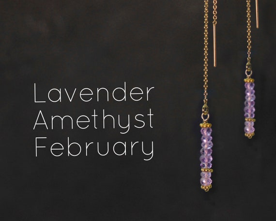 February Birthstone. Pink Amethyst, Threader Earrings.  Healing Stones,  Threader with Arch. Long Earrings, Gold Filled or Silver, E2622