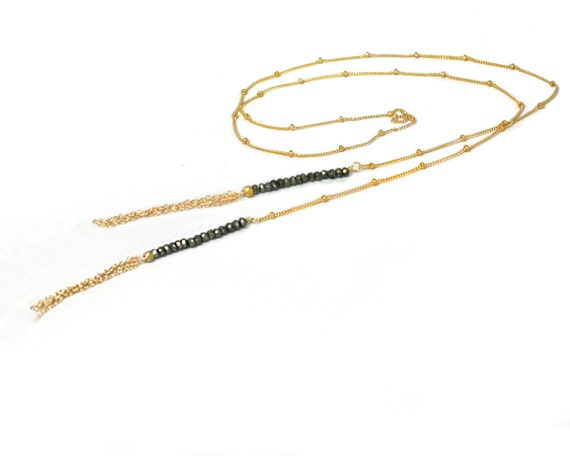 Long Tassel Lariat. Pyrite Wrap necklace. Hi Lo choker and chain. Tassel Necklace. Choice of Gemstones. NL-1725