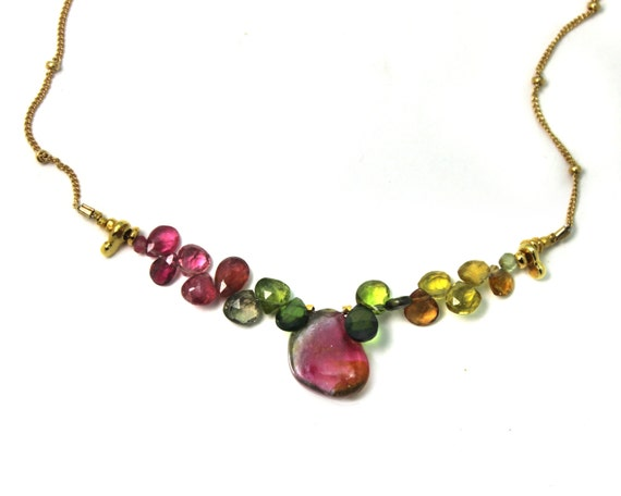 Watermelon Tourmaline Slice Necklace. Unique Multi Tourmaline Collar. Gold Filled Chain and Clasp.