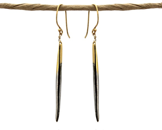 Gold Ombre Quill Earrings. Modern Spike Earrings. Gold or Sterling Silver. Edgy Jewelry. E-1764