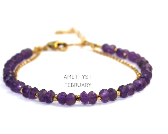 Amethyst Charm Bracelet. February Birthstone. Healing Stone. Double Strand Bracelet.  Bridesmaid Gift. Gold Filled, Silver, Rose Gold. B2602