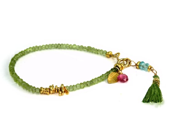 Peridot Beaded Bracelet with 22k Gold Vermeil and Pink Topaz Accents. August Birthstone.