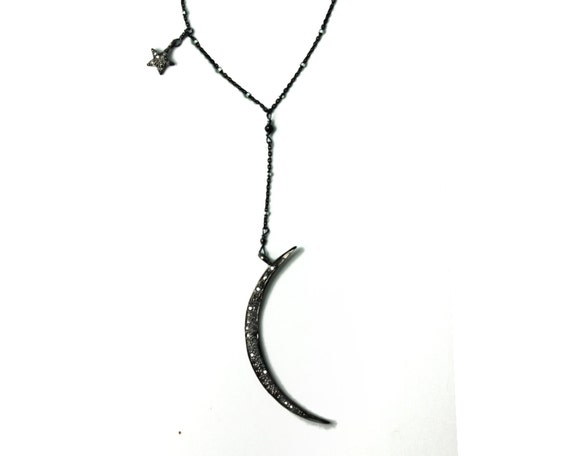 Y Necklace. Pave Diamond Moon and Star Necklace. Pave Diamond Jewelry. Crescent Moon and Star. NM-2080