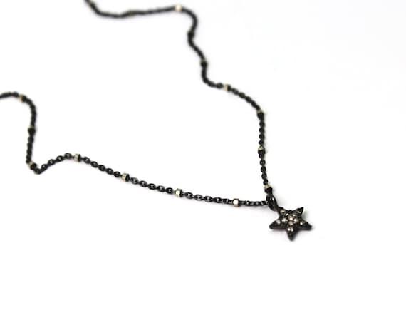 Pave Diamond Star Necklace. Tiny Sterling Silver Star Necklace. Black Diamond Necklace. NS-2303