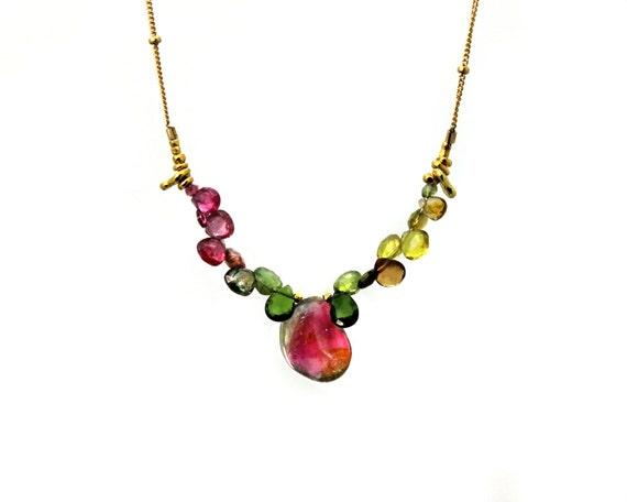 Watermelon Tourmaline Slice Necklace. Unique Multi Tourmaline Collar. Gold filled Chain and Clasp.