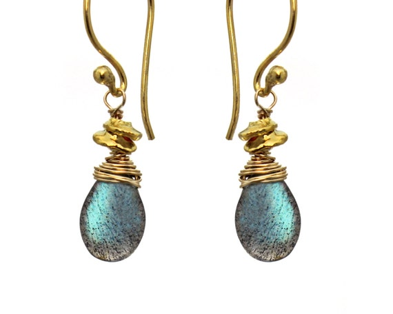 Wire Wrapped Labradorite Gemstone Earrings with Wrapped Tiny Nuggets.  Gold Filled or Sterling Silver E-1964-1.