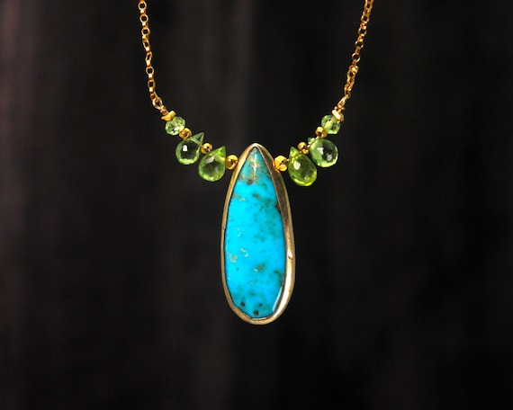 Turquoise and Peridot Necklace. One of a Kind. OOAK. Bezel Set Turquoise  Teardrop. Gold Filled Turquoise.