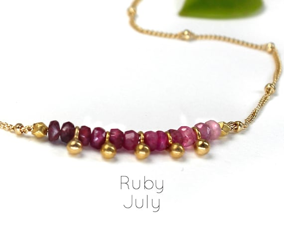Ruby Choker. July Birthstone. Ombre Jewelry. Shaded Ruby. Gift for Sister. Adjustable Choker. In Gold Filled, Silver, Rose Gold. N2607
