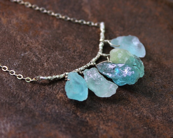 Raw Aquamarine Necklace. Five Rough Aquamarine, Amethyst, Tourmaline, Citrine, or Chrysoprase Nuggets. Gold Fill or Sterling Silver. NS-1