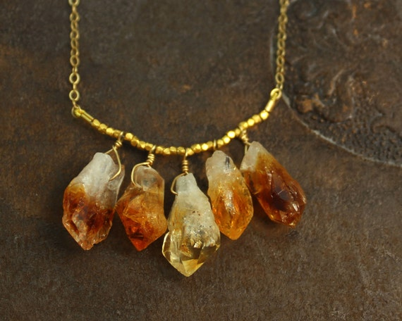 Raw Citrine Necklace. Also in Raw Aquamarine, Amethyst, Tourmaline and Chrysoprase Nuggets. Gold Fill or Sterling Silver. NS-1925