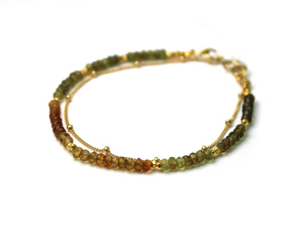 Earthy Garnet Bracelet. Double Layer Bracelet also in Lapis or Labradorite. Gold or Silver.
