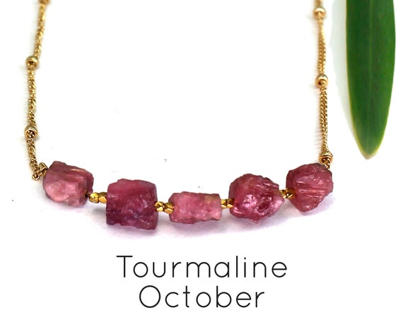 Pink Tourmaline Necklace, October Birthstone. Raw Stone Necklace. Natural Crystal. Healing Stones. In Gold Filled, Silver, Rose Gold. N2606