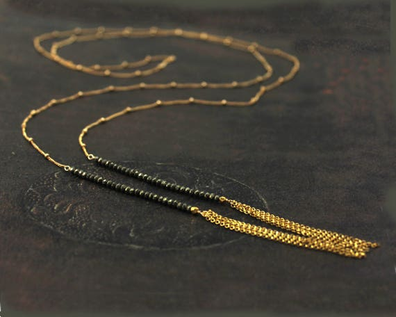 Long Tassel Pyrite Wrap Necklace. Wear as a Lariat, Necklace or Choker. 14k Gold Filled or Sterling Silver.
