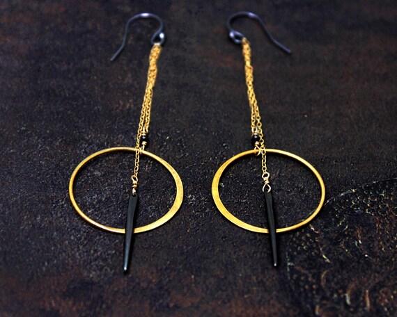 Circle and Spike Earrings. Long Quill Earrings. Geometric Post Earrings. Mixed Metal Earrings. EH2343