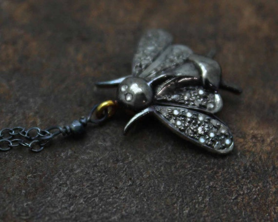 Dainty Pave Diamond Cicada Charm Necklace. In Gold Filled and Gold Vermeil.