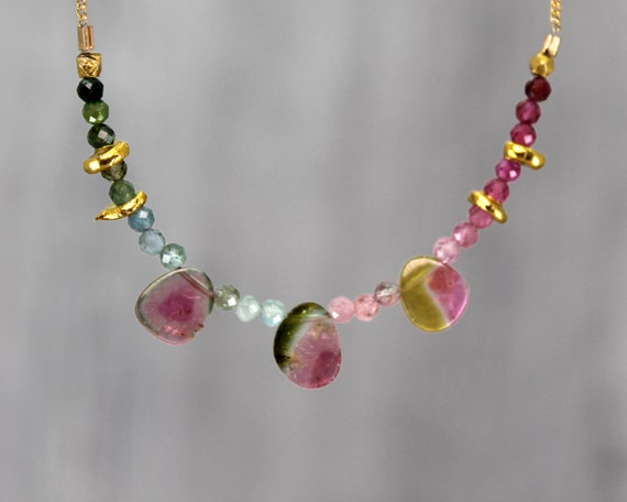 Watermelon Tourmaline Slice Necklace. Unique One of a kind OOAK. Multi Tourmaline Collar.  N2813
