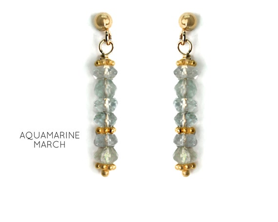 Aquamarine Earrings, Blue/Green Post Earrings. March Birthstone. Healing Stones, Vertical Bar Studs. Gold Filled, Silver, Rose Gold. E2621