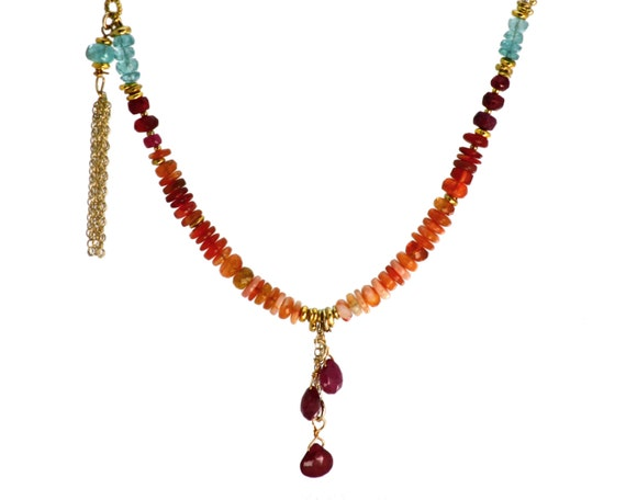 Fire Opal, Ruby & Apatite Beaded Tassel Necklace. Gold Filled or Sterling Silver.