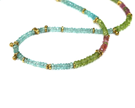 August Birthstone Jubjub Beaded Necklace. Colorful Layering Necklace in Gold Vermeil, Apatite, Peridot and Tourmaline.