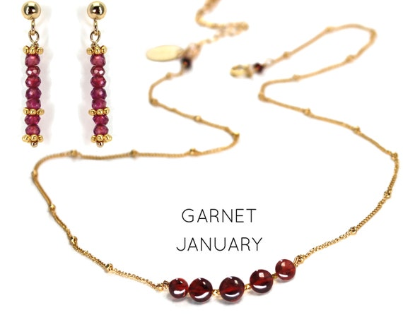 Garnet Necklace and Earring Set. Two items. January Birthstone. Giftwrapped. Healing Stones. In Gold Filled, Silver, Rose Gold. N2606
