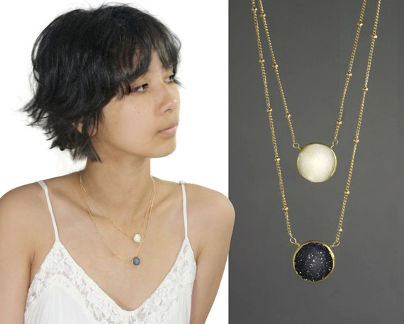Sun and Moon Necklace, Layered Druzy Necklace, Chiarascuro, Polar Opposite. Day and Night. 14k Gold Filled Jewelry.