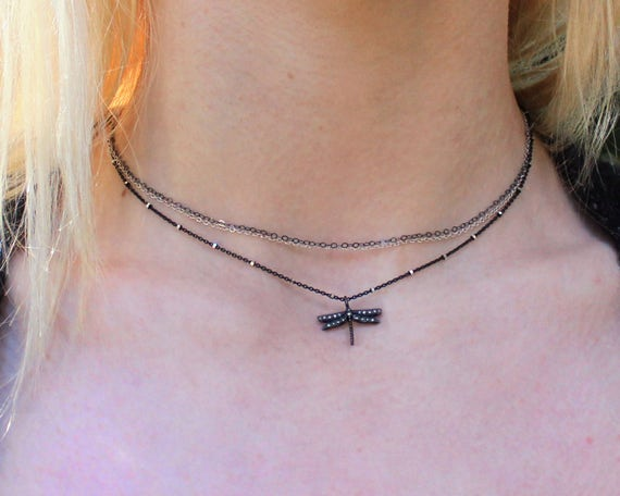Pave Diamond Tiny Dragonfly Choker. Multi Chain Mixed Metals.