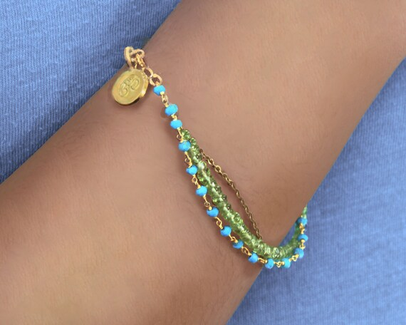 Multi Strand Bracelet. Turquoise and Peridot Birthstone Bracelet  Available in Sterling silver or Gold Fill.