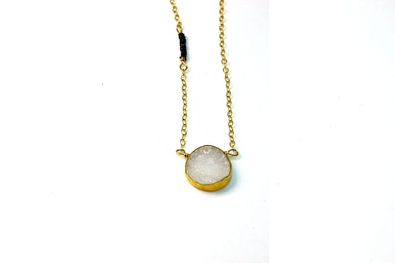 Dot and Dash. Druzy Necklace, Tiny Disc Necklace. Gold Necklace, Geometric Jewelry. Asymmetrical Necklace. NS-1307