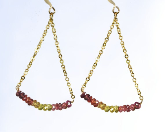 Zemmery.  gold, pink tourmaline and citrine  earrings. Long geometric triangle earrings with Delicate gold filled  chain GEO.