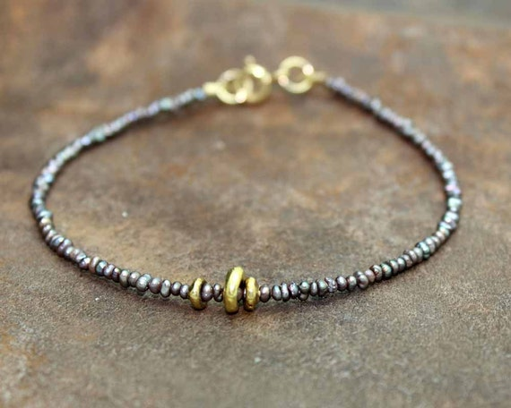 Beaded Bracelet. Pearl, Spinel or turquoise. Stacking Bracelet. Delicate tiny beads. Gold Fill or Sterling Silver. B-1930