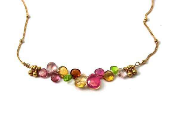 Multi Gemstone Bar Necklace.  Pink Spinel, Citrine, Peridot, & Topaz Briolette  Necklace. Bridesmaid Gift.  N2399.