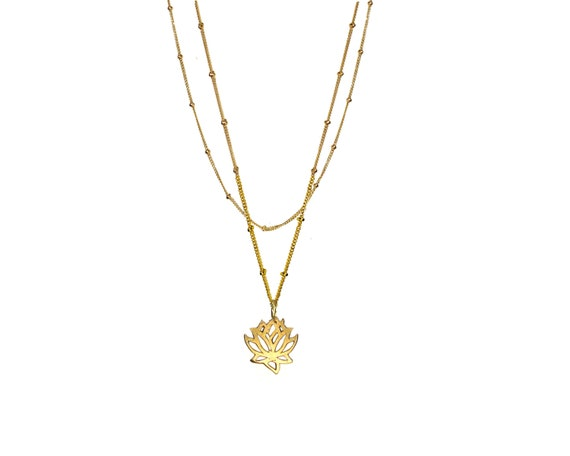 Dangling Karats. Gold Lotus Necklace For Growth and Strength. Yoga Necklace.