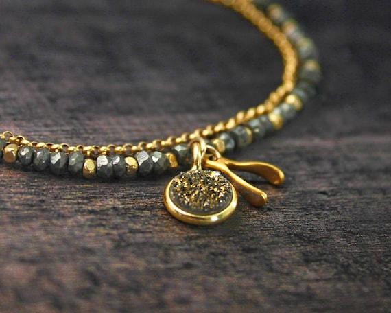 Good Luck Bracelet, Custom Charm Bracelet, Druzy Bracelet. Pyrite Charm Bracelet.  Multi Strand Bracelet. Wishbone Jewelry.
