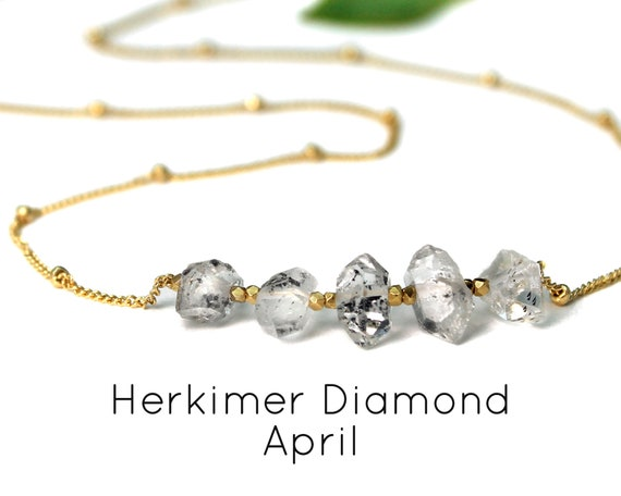 Herkimer Diamond Necklace. April Birthstone. Raw Natural Crystal. Birthstone Options. In Gold Filled, Silver, Rose Gold. N2606-HD