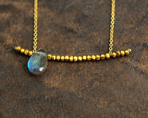 Horizontal Boli Bar Necklace. Asymmetric Labradorite Teardrop. Gold Fill or S Silver Chain. 22k Gold Vermeil or Pure Silver Beads. NS-1731