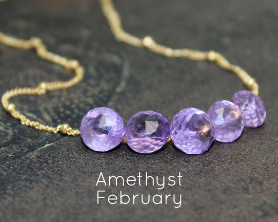 Amethyst Necklace. February Birthstone. Multi Stone Necklace. Gift for Mom. Lavender Amethyst, In Gold Filled, Silver, Rose Gold. N2606-HD
