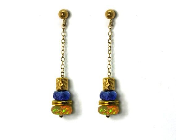 Ethiopian Fire Opal and Tanzanite Earrings. Gemstone Dangle Drop Earrings. Gold Filled or Sterling Silver. E-2209