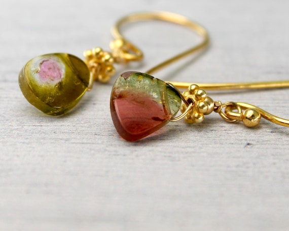Tourmaline Slice Earrings. Watermelon Tourmaline Jewelry, One of a Kind. OOAK. October Birthstone. Raw Stone Earrings.